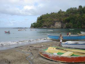 Seaside fishing village on St. Lucia