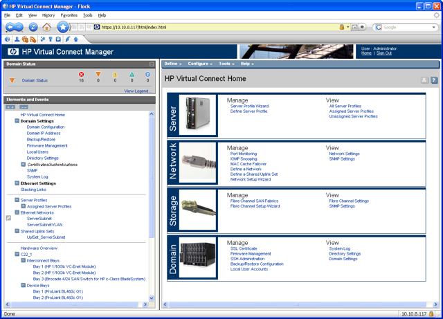 HP Virtual Connect user interface thumbnail