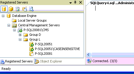 Registered Servers window showing a CMS