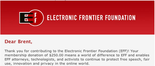 Electronic Frontier Foundation Donation