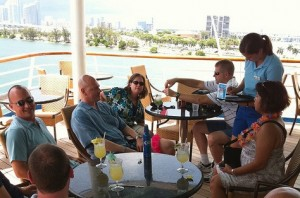 SQLCruisers ordering drinks on the back deck